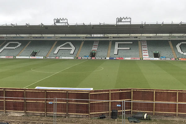 GL events UK stadium construction at Plymouth Argyle Football Club